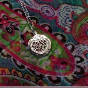 Avon Sterling Silver CZ Heart Kiss Me Necklace